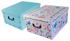 Ordnungsboxen Deko Karton 2er Set Box Clip Schmetterlinge und  Hellblau Aufbewahrungsbox